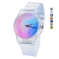 Transparent Silicone strap High Quality Classic Crystal Watch Cartoon Novelty Student / women Watch