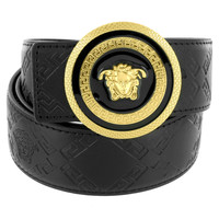 Greek Medusa Design Buckle Gold Tone Leather Black Belt 37mm
