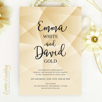 Gold wedding invitations printed on white shimmer paper | Modern geometric wedding invitations cheap | Glitter wedding invitations