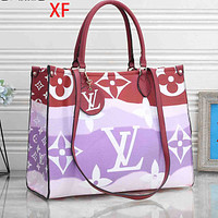 Onewel LV Bag Louis Vuitton Big Square Bag Big Monogram Colorful Print Handbag Burgundy handle