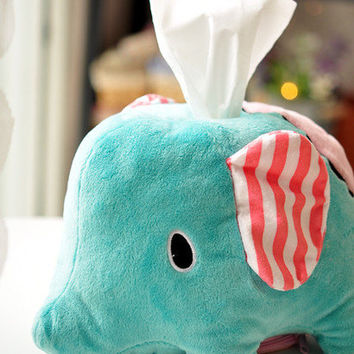 Cute Elephant tissue chariot with a paper towel tissue box [102]