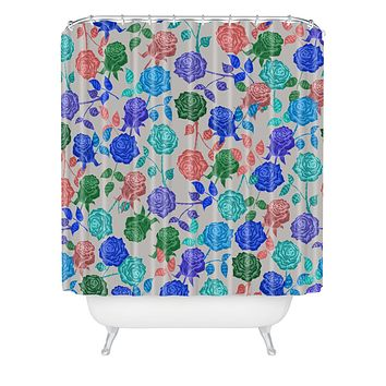 Bianca Green Roses Blue Shower Curtain