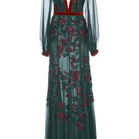 Semi Sheer Floral Embroidered Gown | Moda Operandi