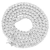 "Tennis Link Necklace 24"" Solitaire Simulated Diamond 4mm Silver Tone"