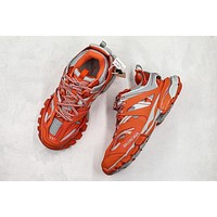 Balenciaga Track Trainers In Orange Mesh And Nylon Sneakers