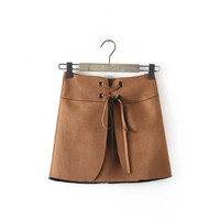 Brown Faux Suede Leather Drawstring Side Zipper A-line Mini Skirts