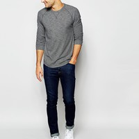 Abercrombie & Fitch Long Sleeved Marl Crew Neck In Muscle Fit