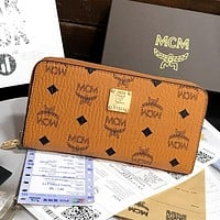 MCM Hot Sale Fully Printed Letters Men's and Women's Long Clutch Zipper Wallet Bag 1