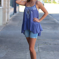 Boho Nights Ruffle Tank {Slate Blue}