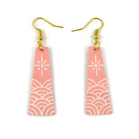 Powdery pink trapeziums dangle earrings with white stylized waves and suns, rose quartz and white fancy earrings, recycled plastic earrings