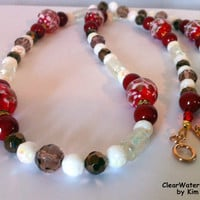 Christmas Necklace Hand Blown Glass Jewelry Glass Blown Beads Crystal Pearl Necklace Karen Hill Tribe Rose Gold Vermeil Clasp