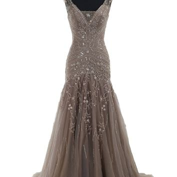 COCOMELODY Women's Trumpet V Neck Long Floor Length Beaded Lace Up Evening Dress