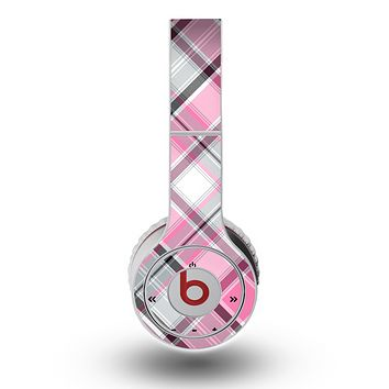 The Black and Pink Layered Plaid V5 Skin for the Original Beats by Dre Wireless Headphones
