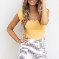 Bringing It Mustard Ruffle Sleeve Detail Top