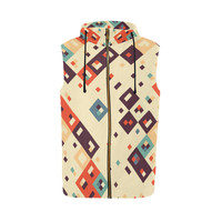 Squares in retro colors4 All Over Print Sleeveless Zip Up Hoodie for Men (Model H16) | ID: D2038019