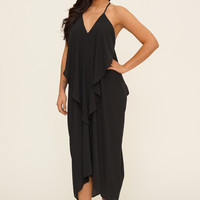 Chloe Flowy Maxi Layer Dress- Black