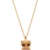FOREVER 21 Rhinestoned Owl Chain Necklace Gold/Pink One