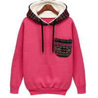 New Fashion Women's Loose Large Size Long Sleeve Thicken Pocket Hooded Pullover Sweatshirt Hoodies Coat - Available 2 Great Colors!