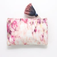 FLOWERS/ Natural leather & Dyed cotton two color side pouch - Ready to Ship