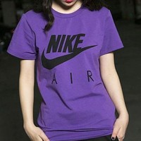 NIKE pairs logo logo print short sleeves cotton breathable leisure sport round collar T-shirt men and women alike
