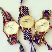 Geneva Hand-Woven Handmade Braided Friendship Bracelet Lady Quarzt Watch Simple