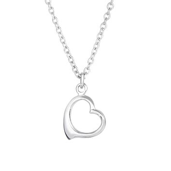 Sterling Silver Open Heart Pendant Womens Necklace, 17""