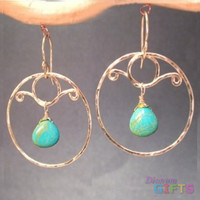 """Hammered circles with blue turquoise, 2"""" Earring Gold Or Silver"""