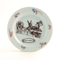 Recycled Alice in Wonderland Tea Party on Vintage Porcelain Plate Home Decor White Flowers Carroll Whimsical