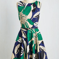 Mid-length Sleeveless Fit & Flare Luck Be a Lady Dress in Flower Art