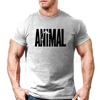 Clothing Bodybuilding and Fitness Men T-shirt workout ANIMAL print Muscle Shirt sportswear tee shirt home