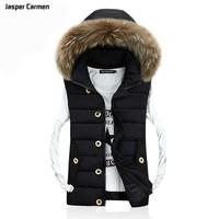 2017 Men Sleeveless Jacket Winter Casual Down Vest Cotton-padded Slim Men's Hooded Collar Vest  69cy