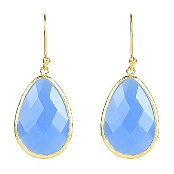 22K Yellow Gold Natural Blue Chalcedony Drop Earrings