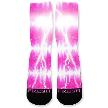 Hibiscus Tie Dye Storm Custom Athletic Fresh Socks