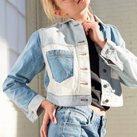 BDG Mix + Match Denim Cropped Trucker Jacket   Urban Outfitters