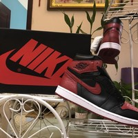 [Free Shipping ]Nike Air Jordan 1 Retro High OG Banned Bred Black Red Basketball Sneaker