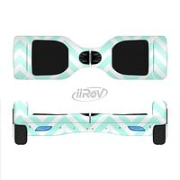 The Light Teal & White Sharp Chevron Full-Body Skin Set for the Smart Drifting SuperCharged iiRov HoverBoard