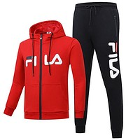 FILA 2018 autumn and winter new plus velvet sports and leisure two-piece Red