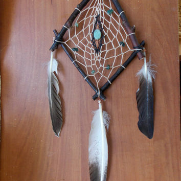 Unique Natural Dream Catcher for Heart Chakra with Moss Agate and Amazonite // Boho Hippie Gyspy Home Decor