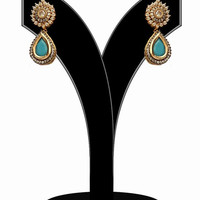 Fashion Earrings for Women in Turquoise and White Stones