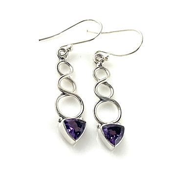 Amethyst Sterling Silver Infinity Earrings