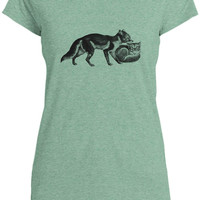 Mintage Foxes Womens Capped Sleeve T-Shirt