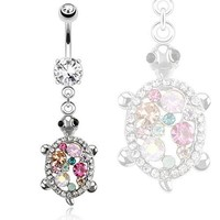Belly Button Ring 316L Surgical Steel Turtle with Multi Colored CZs Dangle Navel Ring
