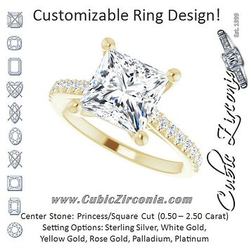 Cubic Zirconia Engagement Ring- The Diane (Customizable Cathedral-raised Princess/Square Cut Design with Accented Band and Infinity Symbol Trellis Decoration)