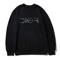 Dior fashion casual hoodies hot selling laser reflective print LOGO circular collar hoodies Black