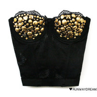 Runwaydreamz : Coveted Gold Studded Lace Bustier
