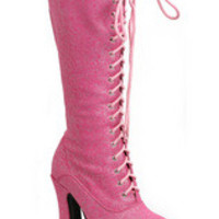 """WOMEN'S 5"""" HEELS SHIMMER LACE UP BOOT"""