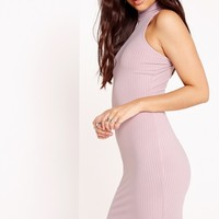 Missguided - High Neck Ribbed Racer Bodycon Dress Pink