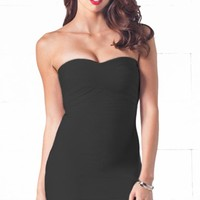 After Hours Black Sweetheart Neck Bandage Style Strapless Body Con Fitted Mini Dress