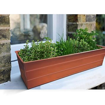 Rectangular Metal Flower Planter Box with Embossed Line Design, Small, Copper By Casagear Home