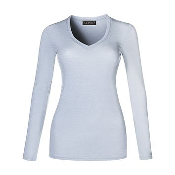 Basic Lightweight Fitted Long Sleeve V Neck Cotton Shirt with Stretch (CLEARANCE)
